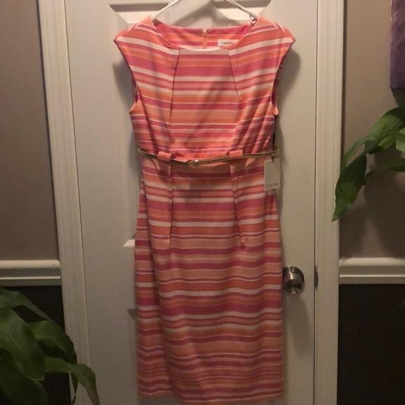 Calvin Klein Pink stripe, belted dress, size 4